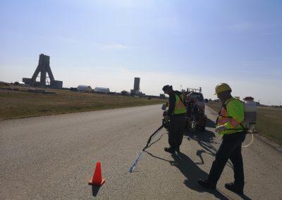 Worker working on road repair