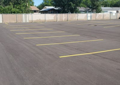 Yellow marking in parking lot